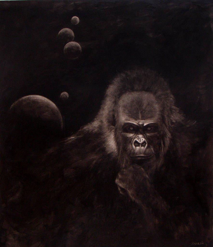 """Retrato 10 (Gans filósofo)"". 2003. Óleo / lienzo ( 170 x 150 )"