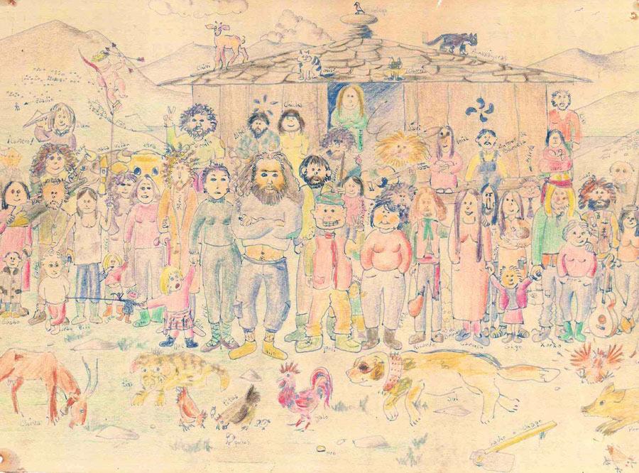 Debuxo de José Ortiz da comuna de Foxo (Negueira de Mulñiz) a finais dos setenta.