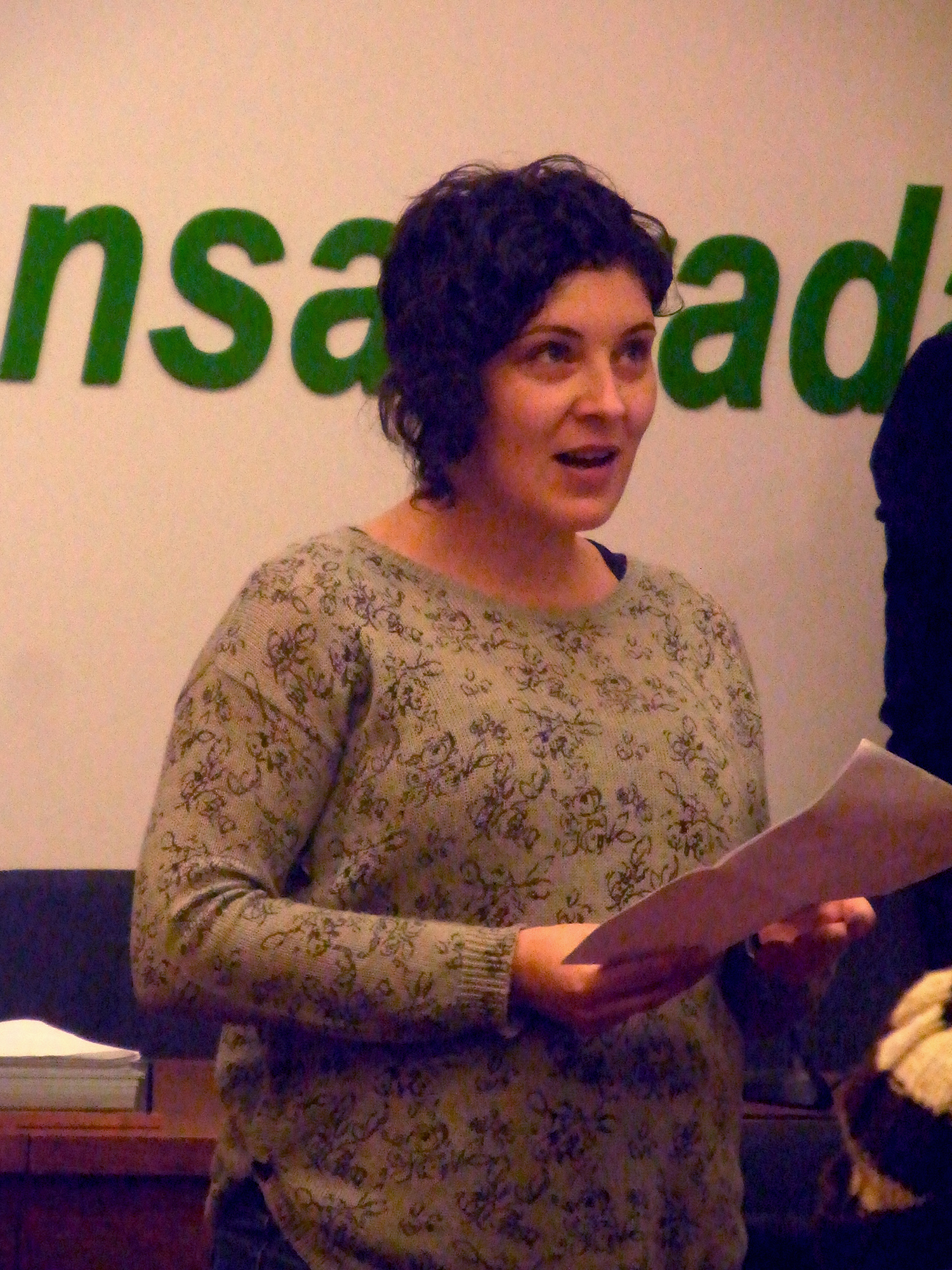 Xiana Arias na presentación da exposición Represaliados.